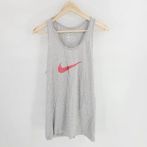 Nike Plus Size Slim Fit Graphic Logo Racerback Tank Top in Gray Size 2XL